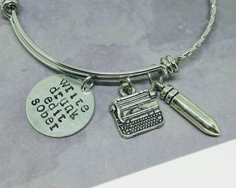 Write drunk edit sober - Ernest Hemingway bangle - literature Jewelry - book jewelry - graduation gift - funny Jewelry - writer