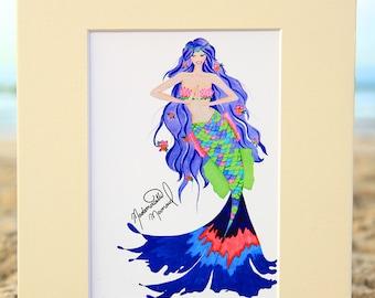 Mademoiselle Mermaid Art Print - Bohemian Mermaid Fashion Illustration - Mermaid Gift Ideas - 4x6, 5x7, or 8x10 Fantasy Artwork