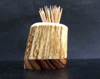 Nice Elk Antler Toothpick Holder, Match Stick Holder,Zebra Wood Base, TP-53