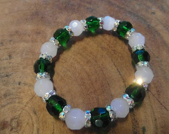 Faceted Beads Bracelet with Rhinestones