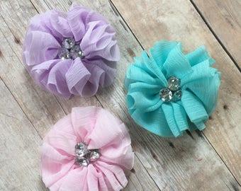 Rhinestone Wrinkled flower, CHOOSE your COLOR, DIY Infant Headband, Headband Supplies, rhinestone Flower, Hair bow flower, hair accessory