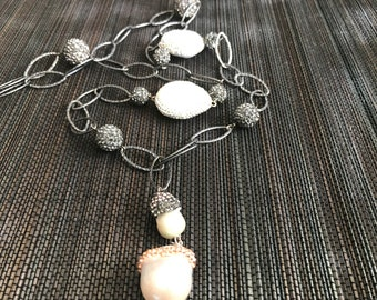 Cool Metal Pearl CZ Necklace