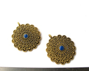 Antiqued Gold Metal 35mm Round Filigree Style with Blue Enameled Center Pendant, Sold per 2 pc, 1088-08