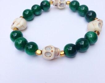 Stackable Bracelet, Boho Bracelet, Stretch Bracelet with Dark Green Candy Jade, Skulls and Gold Spacers