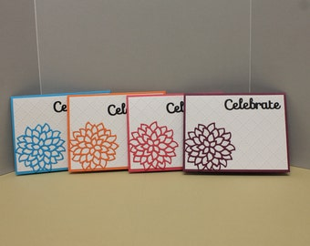 Handmade Celebrate Cards with Matching Envelopes (Set of 4)