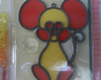 Baking craft vintage stained glass kit, red and yellow mouse design, retro NOS, Baking creations, summer project childrens kit, suncatcher