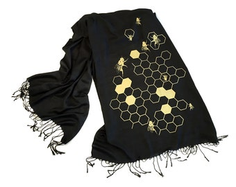 Honey Bee Printed Scarf. Bee Hive linen-weave pashmina. Oh Honey silkscreen print. Choose black, gold & more! Custom colors available too.