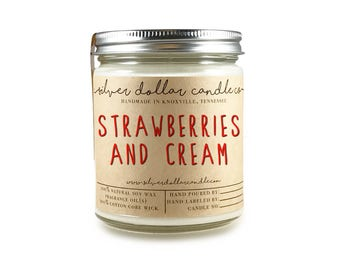 Strawberries & Cream Candle, Scented candles, soy candle, candle, girlfriend gift idea, gift for her, valentines day, gift for mom, candle