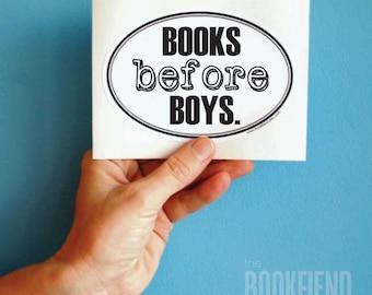 books before boys oval bumper sticker