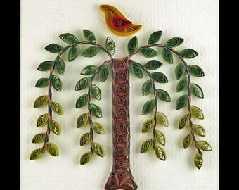 Tutorial -- Quilled Weeping Willow Tree Folk Art Pattern