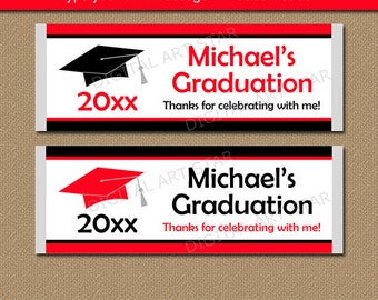 Graduation Candy Bar Wrapper Template, Senior Graduation Party Favor, Chocolate Bar Wrappers, Red Black Graduation Party Supplies G1