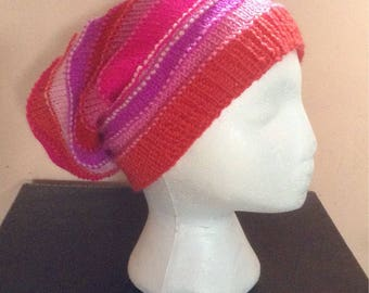 Jazzy Pink & Red Slouch Beanie Hat