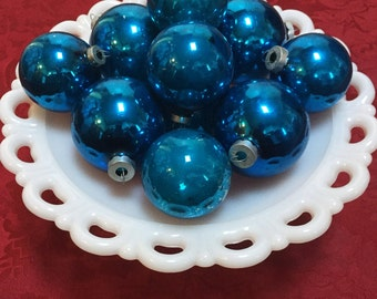 Vintage Mercury Glass Blue Ball Ornaments - Set of 12