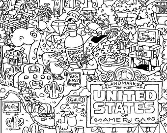 USA Landmark Map COLORING PAGE