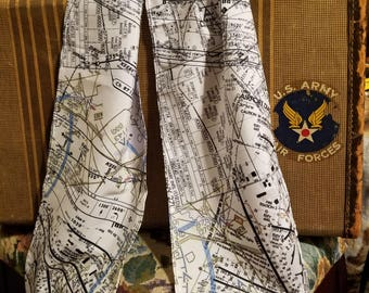 "Aviation Inspired Silk de crepe Scarf - ""On Approach"""