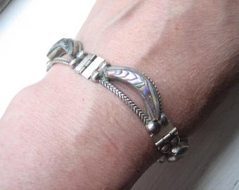 Vintage sterling silver abalone bracelet, Mexican abalone, Mexican silver, silver linked abalone, signed sterling