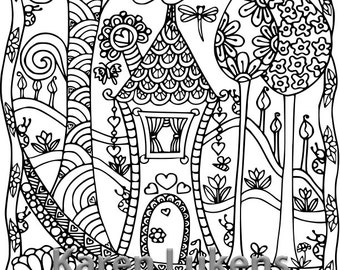 5 pages, Happyville Coloring Pack #3 , 5 Adult Coloring Book Pages, Printable Instant Download