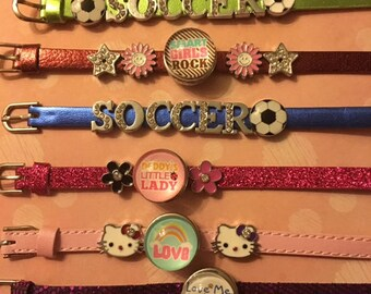 Trendy New Colored Leather Slider Bracelets in Various Styles and Colors - Take Your Pick!  I Can Shorten for Smaller Wrists
