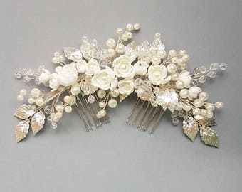Ivory Pearl Bridal hair comb, Ivory Bridal headpiece, Bridal hair piece, Wedding hair piece, Wedding hair comb, Wedding headpiece