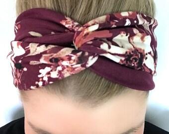 Burgundy Floral Turban Headband - Headbands for Women- Wine - Maroon - boho headband - Knot headband adult - headband women - flower print