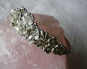 Sterling Silver .925 Codding Bros & Heilbron Wild Rose Spoon Bracelet Antique Art Nouveau Floral