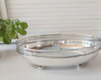Silver Bread Basket / Bread Bowl / Vintage Bread Basket / Silver Wire Basket / Silver Fruit Basket / Oval Bread Basket / Fruit Bowl