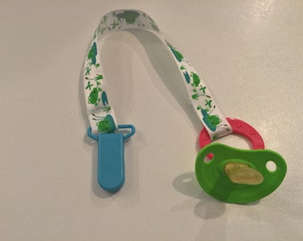 Frog Woven Ribbon Pacifier Clip