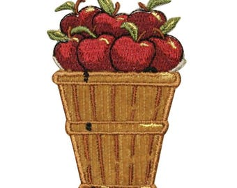 ID 1299 Basket With Apples Patch Orchard Farm Pick Embroidered Iron On Applique