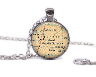 Oxford Mississippi Map Pendant Map Necklace Oxford Mississippi Map Jewelry Travel Necklace University of Mississippi Necklace