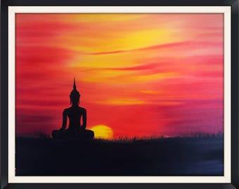 Fine art print on Canvas - Buddha sunset