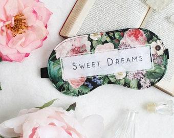 Sweet Dreams Typography Vintage Floral Sleep Mask