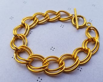 Gold Plated Bracelet for charms with Clasp 7.5 inches