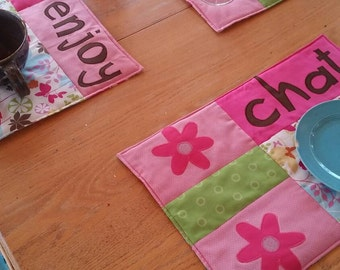 """CLEARANCE** Fun Quilted Place Mats, """"Chat"""", """"Drink"""", Enjoy"""" Place Mats, Quilted Place Mats - SET OF 3"""