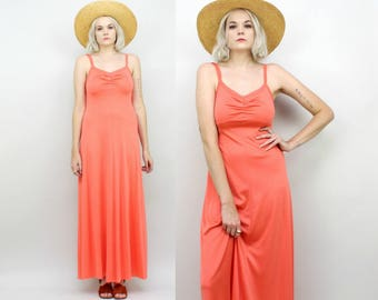 70s Coral Maxi Dress, Size Small, Vintage Long Gown, Summer Bright Pink Orange, Hippie, Festival, Beach, Stretchy, Bright, Party Dress