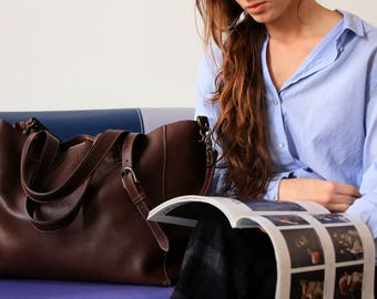 Brown full grain leather bag, Totes, Made in italy, vegetable tanned leather, custom bag