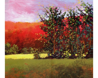 Landscape painting PRINT landscape print Acrylic trees and mountains in the summer GICLEE 13x13