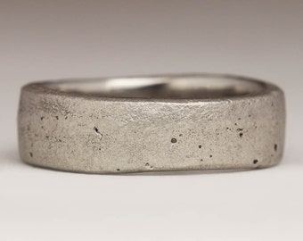 Chunky Platinum Ring, Flat 7mm Ring, Unique Wedding Ring, Beach Sand Casting, Manly Organic Rustic Band, Mens Jewellery, Hallmarked Platinum
