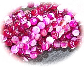 x 20 raspberry and pink agate beads veins round 4mm
