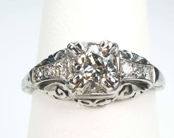 Antique Engagement Ring Vintage Diamond Ring Old European Cut Antique Diamond Engagement Ring Approx .55 Cts Vintage Art Deco White Gold