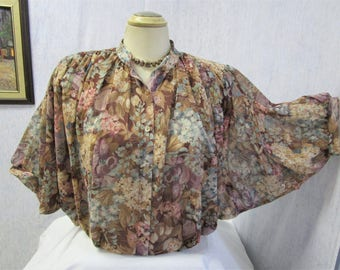 70s Style Rite Batwing Blouse Burgundy Brown Purple Floral Print