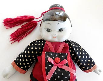 Thai Doll, Oriental Doll, Porcelain Head Doll with Cloth Body, Thailand Doll, Asian Ethnic Girl Doll