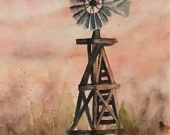 Windmill Painting Western art Original Watercolor Painting, cattle ranch painting