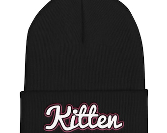 Kitten Embroidered Beanie - DDLG - Kitten Play