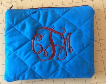 Cute Quilted Monogram/Initial  Cosmetic Pouch/Bag
