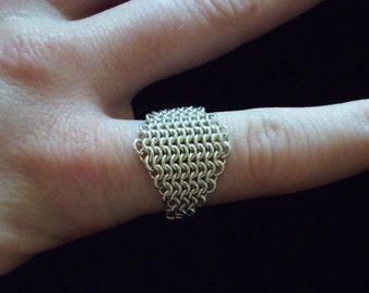 Sterling Silver Diamond 4 in 1 Chainmaille Ring