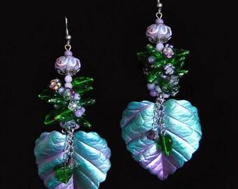 Emerald Leaves - Polymer Clay Leaf and Glass Flower Jade Dangle Earrings