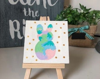 Mini Canvas Painting with Easel, Spring Bunny with Gold Dots