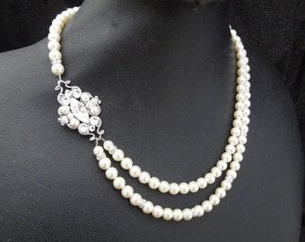 bridal necklace, pearl necklace, Wedding Rhinestone necklace, swarovski crystal and pearl necklace, Statement Bridal necklace, pearl, GABY