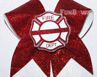 Fire Department  Support Glitter Cheer Bow by FunBows !! Personalize it !