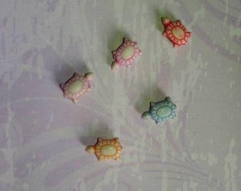 set of 5 multicolor turtle beads